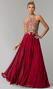 Image of long chiffon prom dress with gold lace applique. Style: FB-GL1526 Detail Image 3