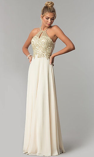 4ccc95924b6 Long Chiffon Prom Dress with Gold Lace Applique. Share