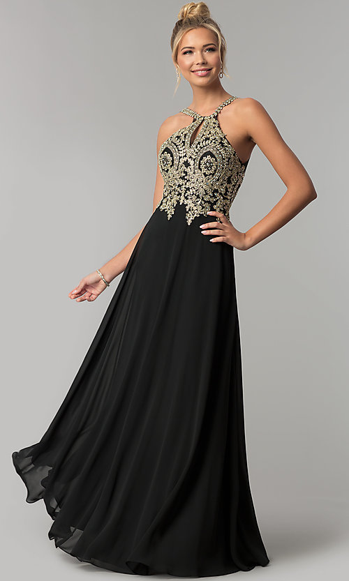 Image of long chiffon prom dress with gold lace applique. Style: FB-GL1526 Detail Image 1