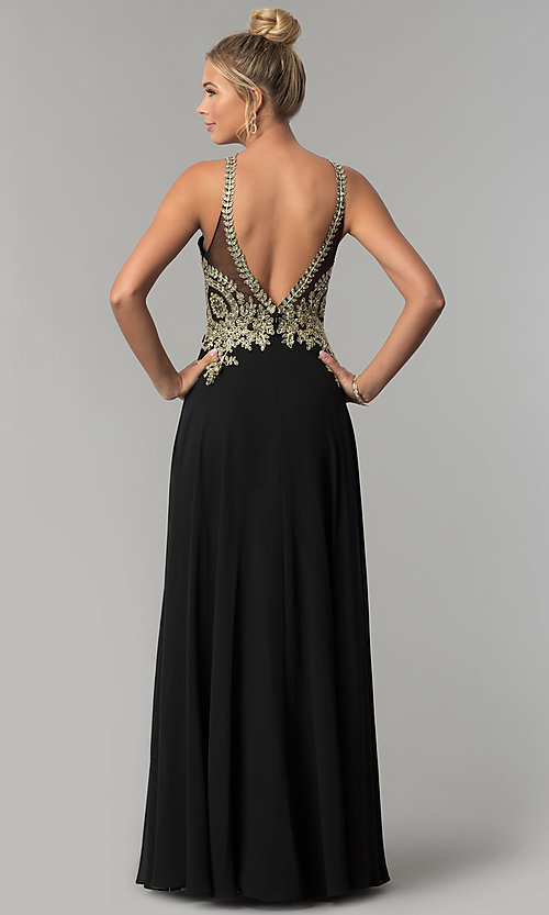 Image of long chiffon prom dress with gold lace applique. Style: FB-GL1526 Back Image