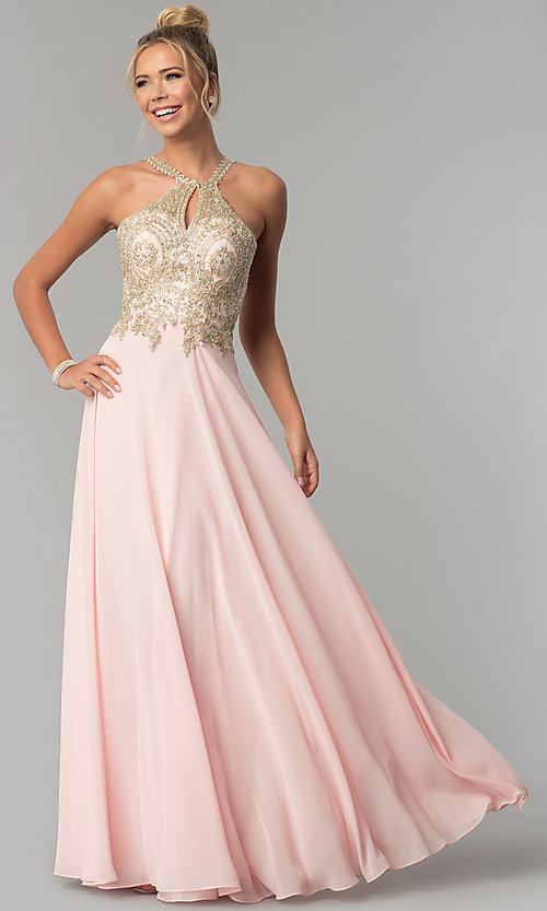 Image of long chiffon prom dress with gold lace applique. Style: FB-GL1526 Detail Image 2