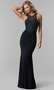 Image of long beaded illusion-bodice high-neck prom dress. Style: FB-GL1507 Detail Image 3