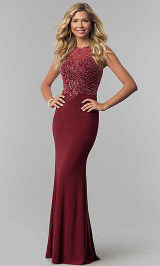 Long Beaded Illusion-Bodice High-Neck Prom Dress