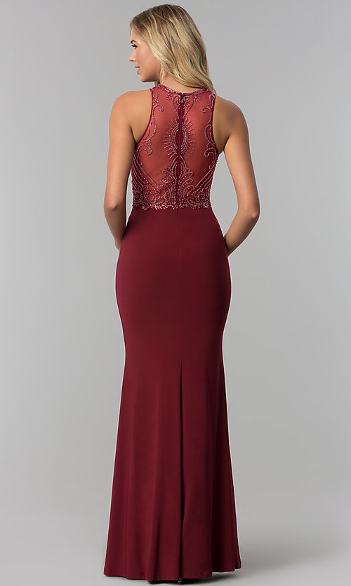 Image of long beaded illusion-bodice high-neck prom dress. Style: FB-GL1507 Back Image