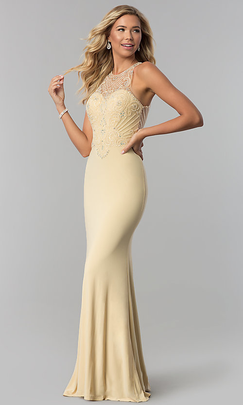 Image of long beaded illusion-bodice high-neck prom dress. Style: FB-GL1507 Detail Image 2