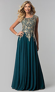 Image of long embroidered-bodice scoop-neck prom dress. Style: FB-GL2407 Detail Image 1