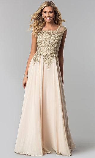 e5a3a82618b Long Embroidered-Bodice Scoop-Neck Prom Dress. Share