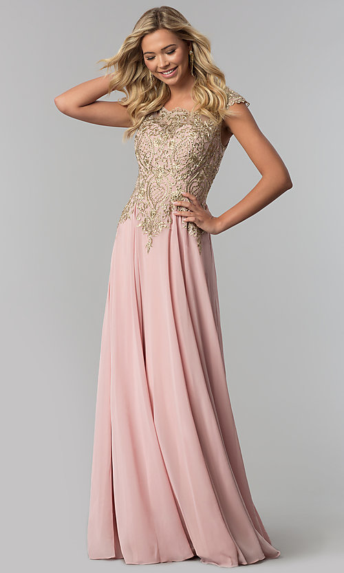Image of long embroidered-bodice scoop-neck prom dress. Style: FB-GL2407 Front Image