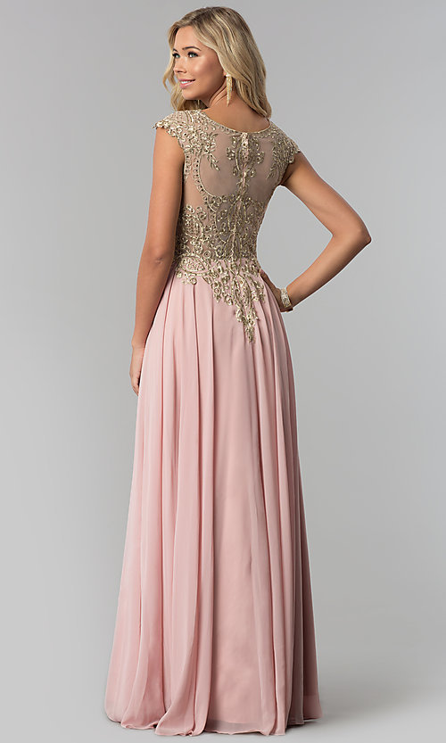 Image of long embroidered-bodice scoop-neck prom dress. Style: FB-GL2407 Back Image