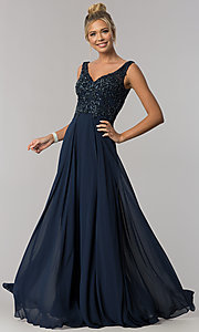 Image of long v-neck beaded-bodice Elizabeth K prom dress. Style: FB-GL1567 Front Image
