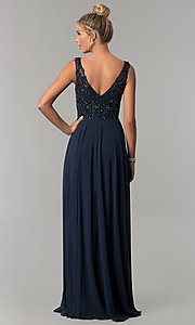 Image of long v-neck beaded-bodice Elizabeth K prom dress. Style: FB-GL1567 Back Image