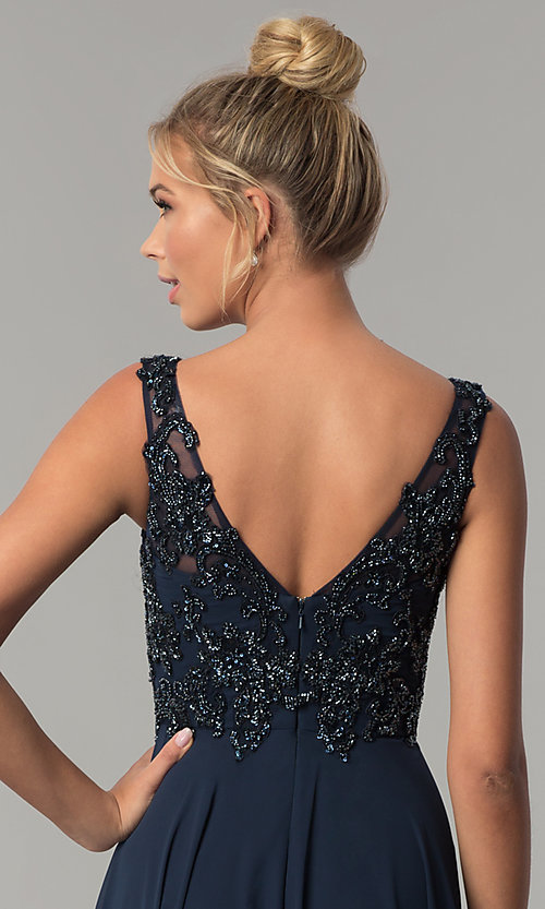 Image of long v-neck beaded-bodice Elizabeth K prom dress. Style: FB-GL1567 Detail Image 2