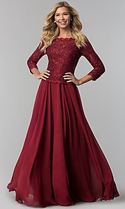 Image of long lace-bodice a-line prom dress with sleeves. Style: FB-GL1509 Front Image