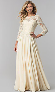 Image of long lace-bodice a-line prom dress with sleeves. Style: FB-GL1509 Detail Image 2