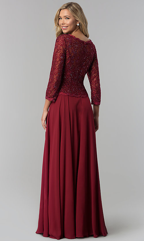 Image of long lace-bodice a-line prom dress with sleeves. Style: FB-GL1509 Back Image