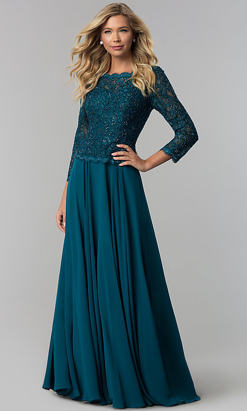 Image of long lace-bodice a-line prom dress with sleeves. Style: FB-GL1509 Detail Image 3