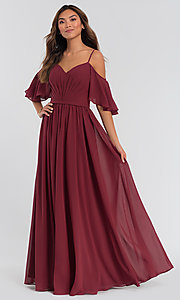 Image of cold-shoulder long chiffon a-line bridesmaid dress. Style: KL-200011 Front Image
