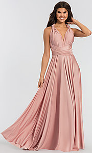 Image of convertible-bodice long bridesmaid dress. Style: KL-200022 Front Image