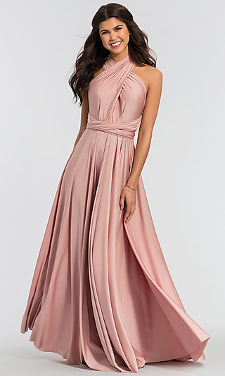 Convertible Long Jersey Bridesmaid Dress