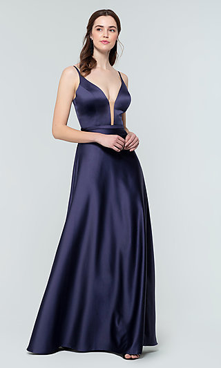Illusion-V-Neck A-Line Formal Bridesmaid Dress