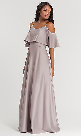 Long Crepe Flounce-Cold-Shoulder Bridesmaid Dress