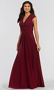 Image of cap-sleeve long a-line formal bridesmaid dress. Style: KL-200035 Front Image