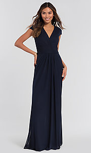 Image of cap-sleeve long a-line formal bridesmaid dress. Style: KL-200035 Detail Image 4
