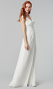 Image of cap-sleeve long a-line formal bridesmaid dress. Style: KL-200035 Detail Image 2