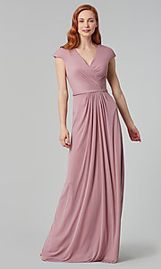 Image of cap-sleeve long a-line formal bridesmaid dress. Style: KL-200035 Detail Image 7