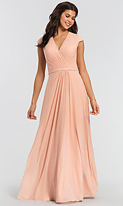 Image of cap-sleeve long a-line formal bridesmaid dress. Style: KL-200035 Detail Image 3