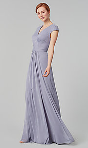 Image of cap-sleeve long a-line formal bridesmaid dress. Style: KL-200035 Detail Image 8