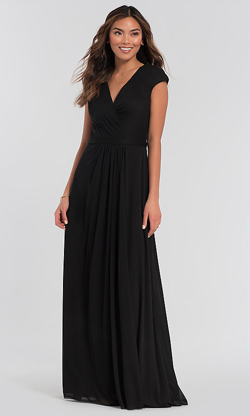 Image of cap-sleeve long a-line formal bridesmaid dress. Style: KL-200035 Detail Image 5