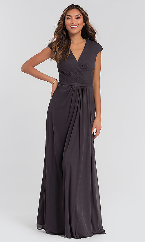 Image of cap-sleeve long a-line formal bridesmaid dress. Style: KL-200035 Detail Image 6