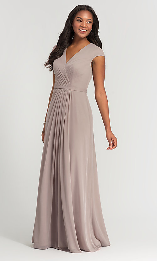 Image of cap-sleeve long a-line formal bridesmaid dress. Style: KL-200035 Detail Image 1