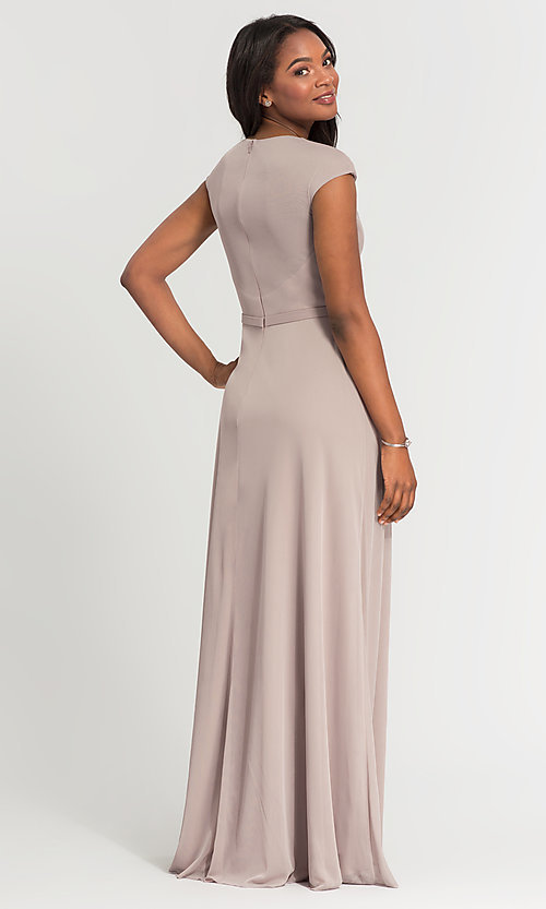 Image of cap-sleeve long a-line formal bridesmaid dress. Style: KL-200035 Back Image