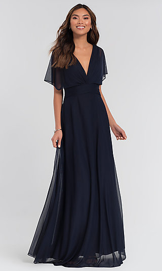 Flutter-Sleeve Long Formal Bridesmaid Dress
