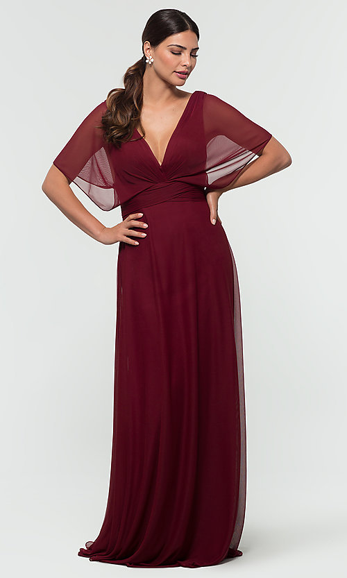 Image of flutter-sleeve long formal bridesmaid dress. Style: KL-200037 Detail Image 6