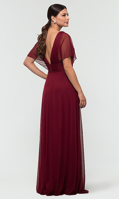 Image of flutter-sleeve long formal bridesmaid dress. Style: KL-200037 Detail Image 7