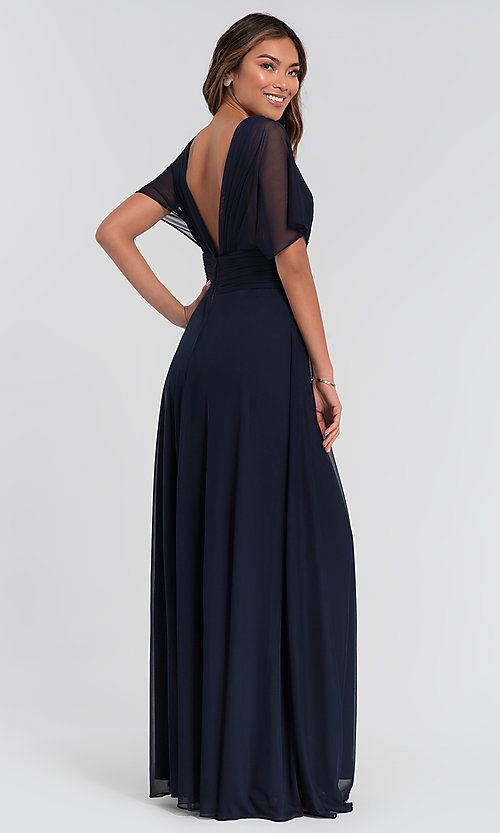 Image of flutter-sleeve long formal bridesmaid dress. Style: KL-200037 Back Image