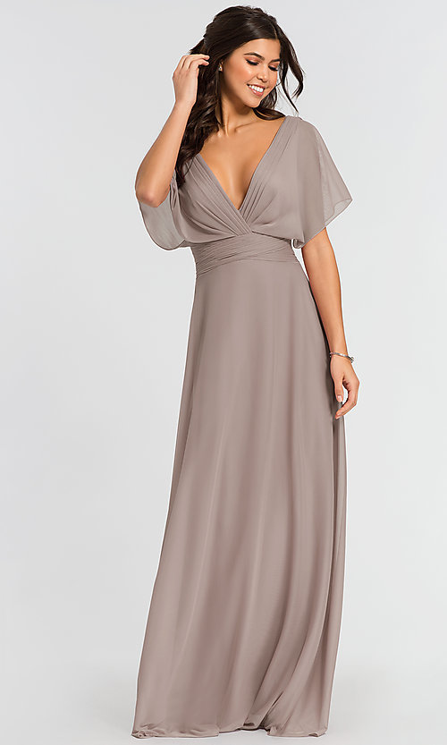 Image of flutter-sleeve long formal bridesmaid dress. Style: KL-200037 Detail Image 3