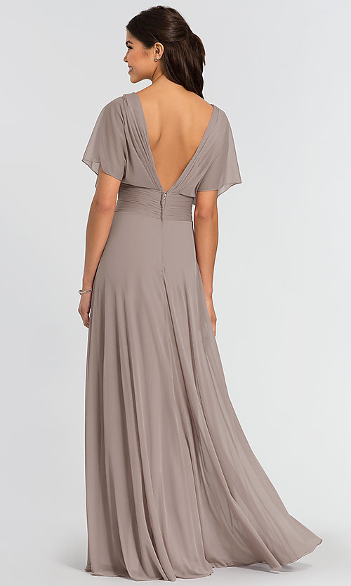 Image of flutter-sleeve long formal bridesmaid dress. Style: KL-200037 Detail Image 4