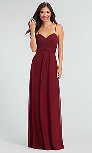 Image of sleeveless long bridesmaid dress in stretch chiffon. Style: KL-200039 Front Image