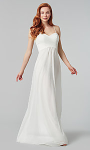 Image of sleeveless long bridesmaid dress in stretch chiffon. Style: KL-200039 Detail Image 6
