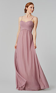 Image of sleeveless long bridesmaid dress in stretch chiffon. Style: KL-200039 Detail Image 1