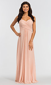 Image of sleeveless long bridesmaid dress in stretch chiffon. Style: KL-200039 Detail Image 2