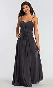 Image of sleeveless long bridesmaid dress in stretch chiffon. Style: KL-200039 Detail Image 3