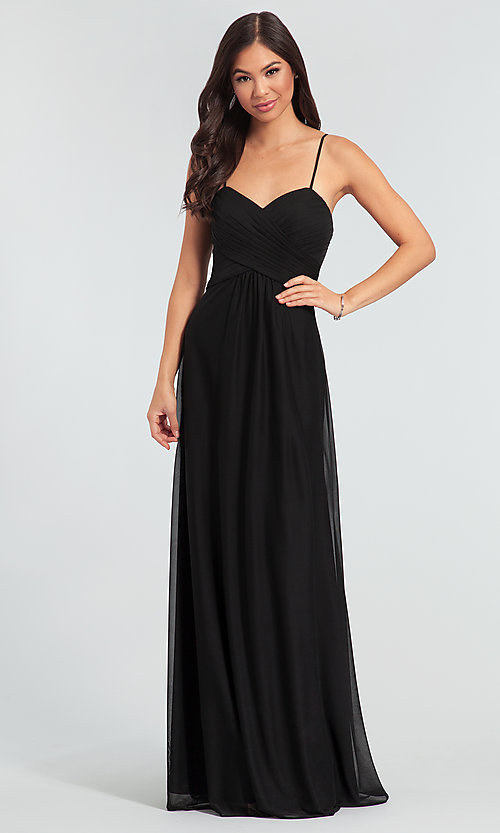 Image of sleeveless long bridesmaid dress in stretch chiffon. Style: KL-200039 Detail Image 5