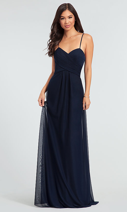 Image of sleeveless long bridesmaid dress in stretch chiffon. Style: KL-200039 Detail Image 4
