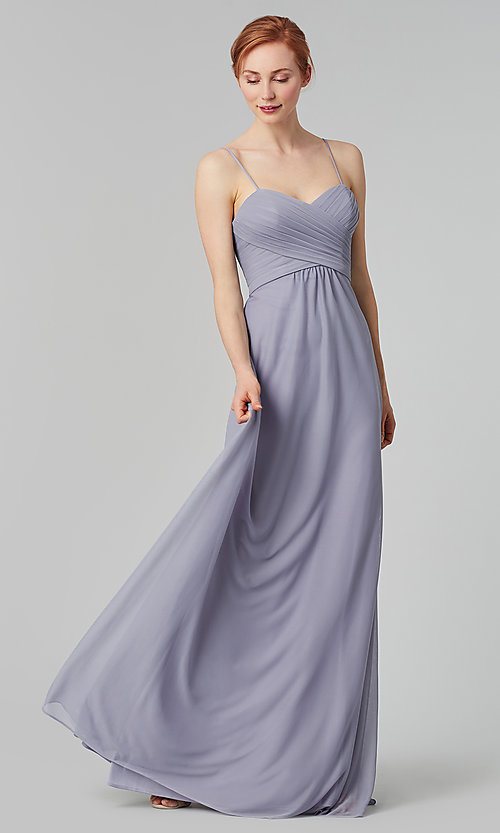 Image of sleeveless long bridesmaid dress in stretch chiffon. Style: KL-200039 Detail Image 7