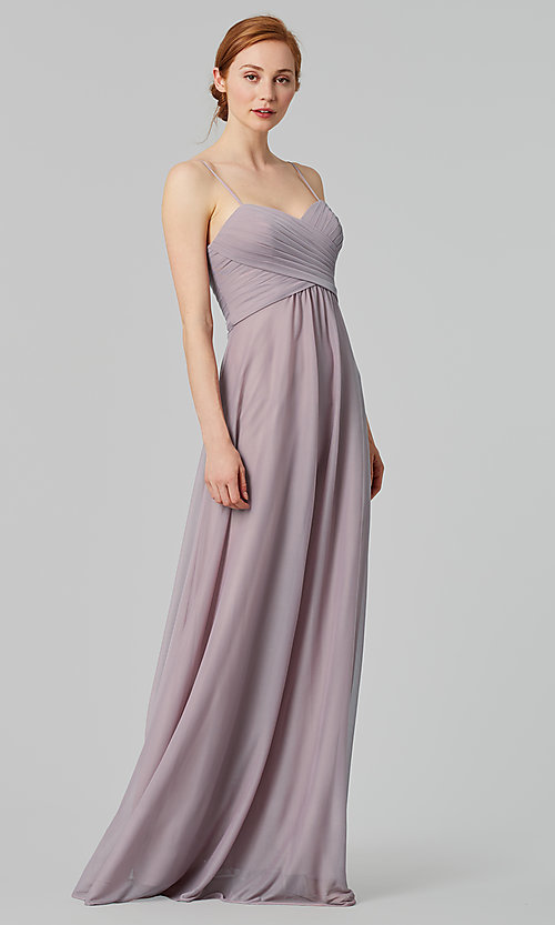 Image of sleeveless long bridesmaid dress in stretch chiffon. Style: KL-200039 Detail Image 8